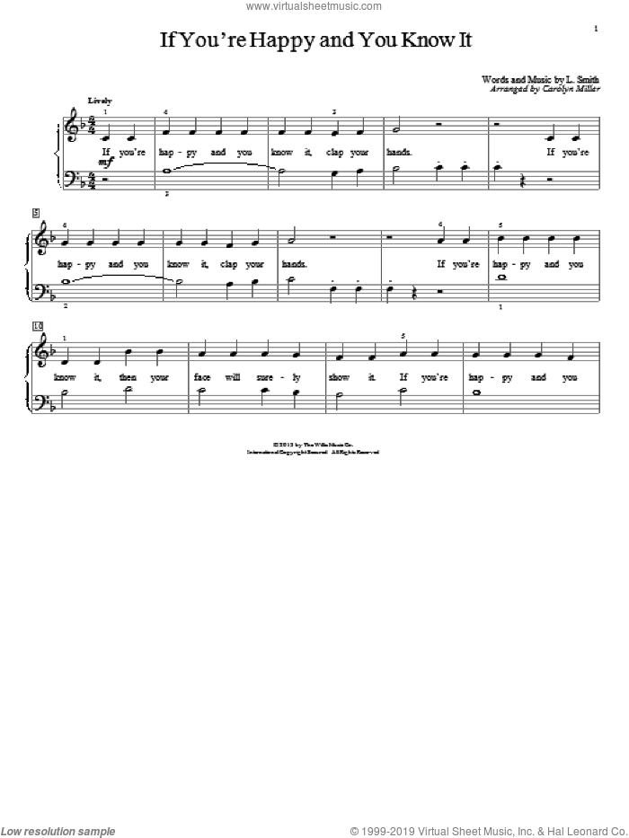If You're Happy And You Know It sheet music for piano solo (elementary) by Carolyn Miller. Score Image Preview.