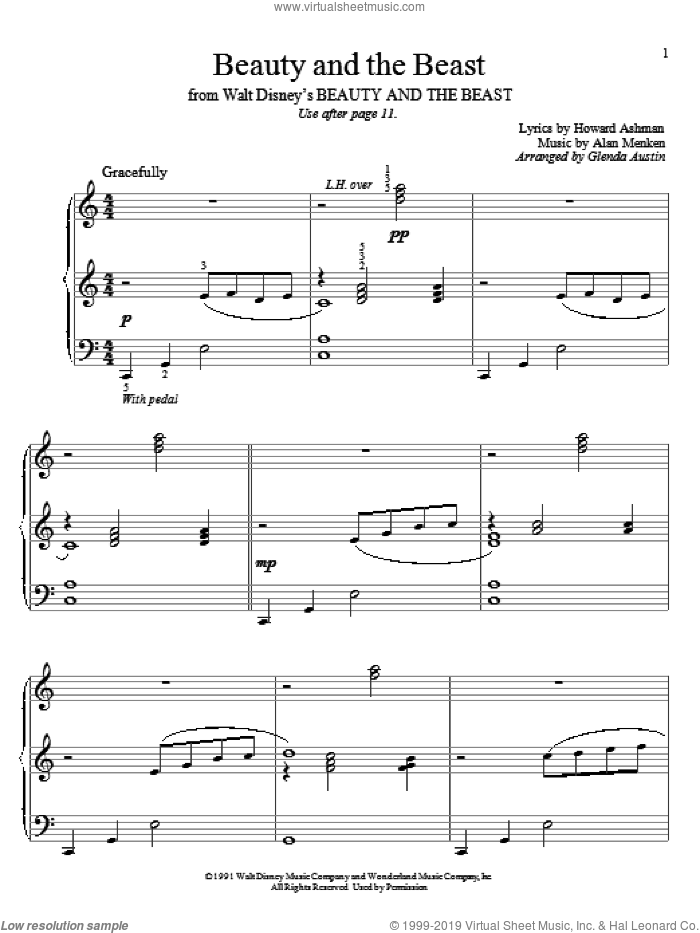 Beauty And The Beast sheet music for piano solo (elementary) by Alan Menken, Beauty And The Beast and Howard Ashman, beginner piano (elementary)