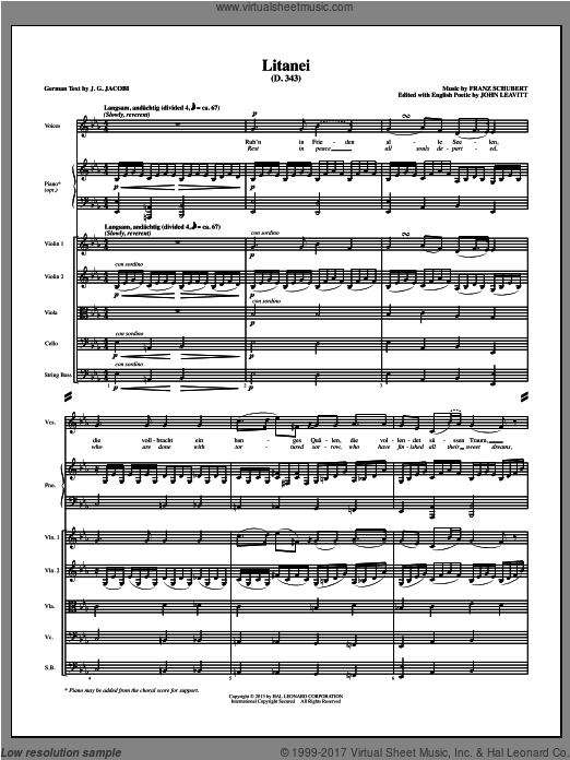 Litanei (COMPLETE) sheet music for orchestra by John Leavitt