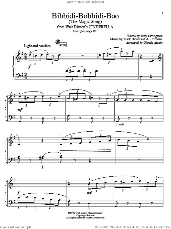 Bibbidi-Bobbidi-Boo (The Magic Song) sheet music for piano solo (elementary) by Al Hoffman, Glenda Austin, Louis Armstrong, Jerry Livingston and Mack David. Score Image Preview.