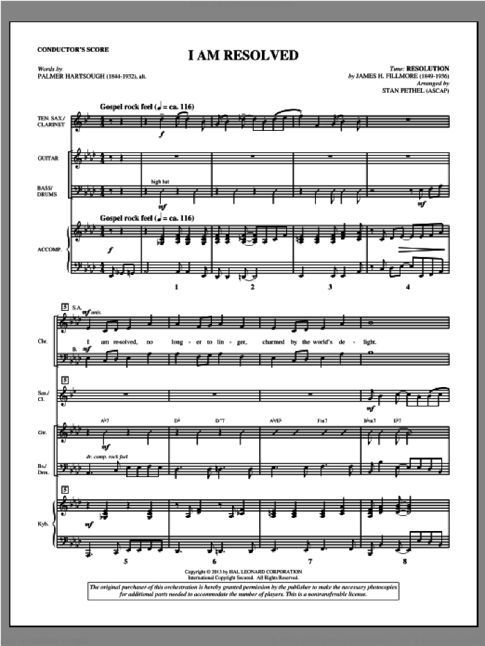 I Am Resolved (COMPLETE) sheet music for orchestra/band by Stan Pethel, intermediate skill level