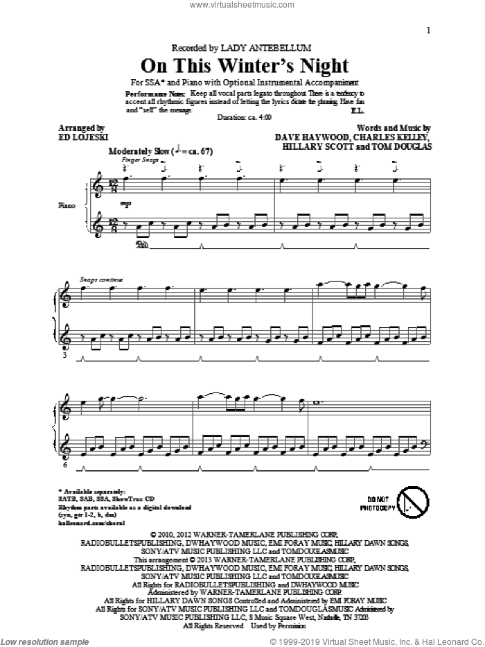 On This Winter's Night sheet music for choir (SSA: soprano, alto) by Ed Lojeski and Lady Antebellum, intermediate