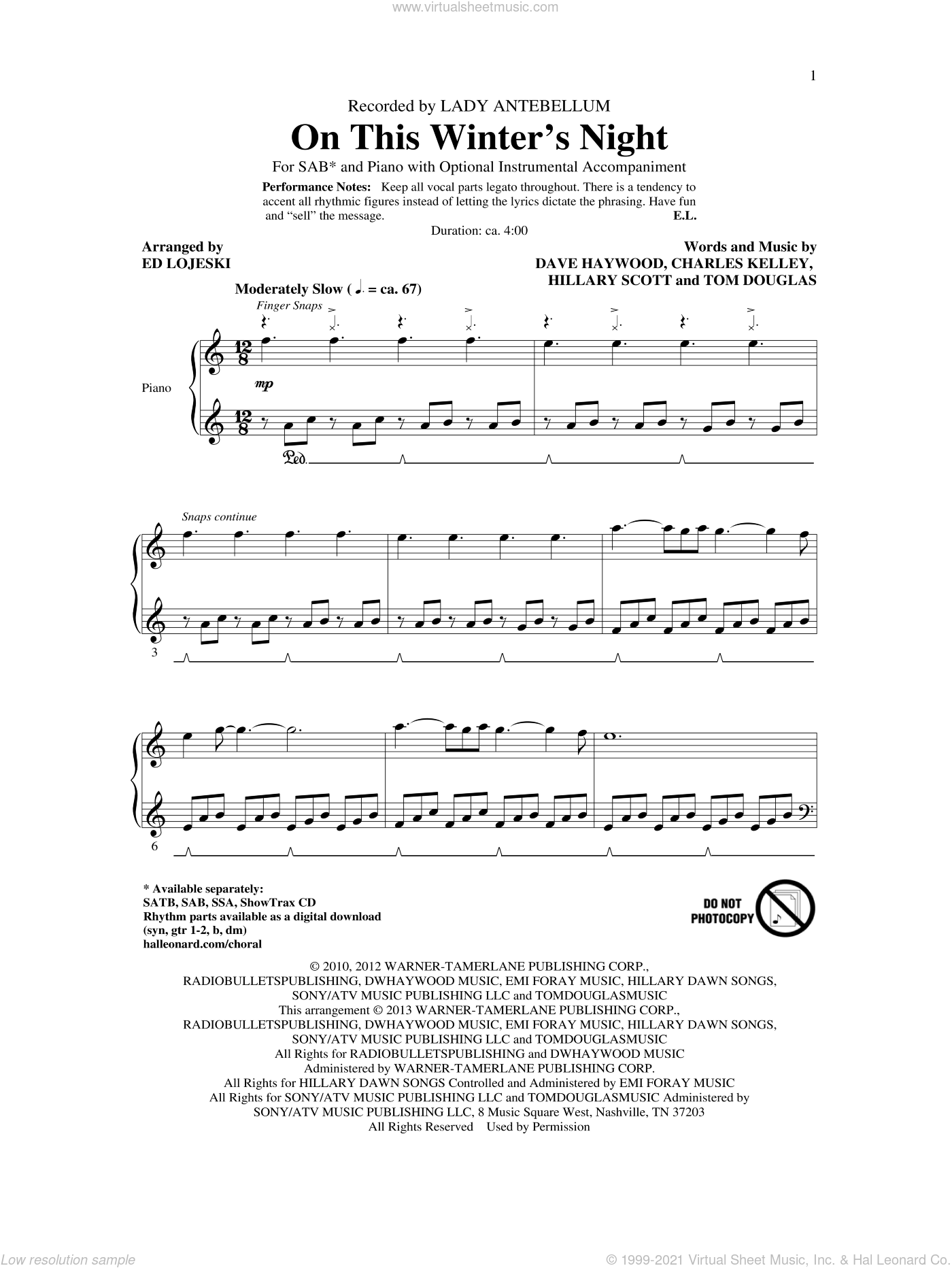 On This Winter's Night sheet music for choir and piano (SAB) by Ed Lojeski and Lady Antebellum. Score Image Preview.