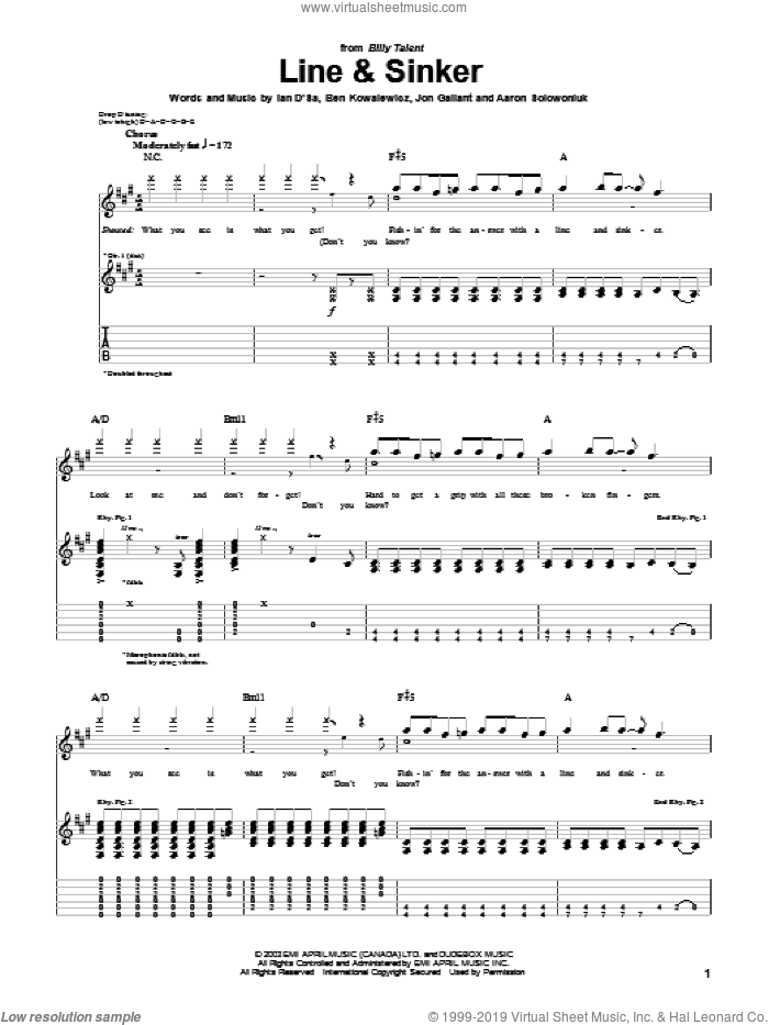 Line and Sinker sheet music for guitar (tablature) by Billy Talent, intermediate. Score Image Preview.