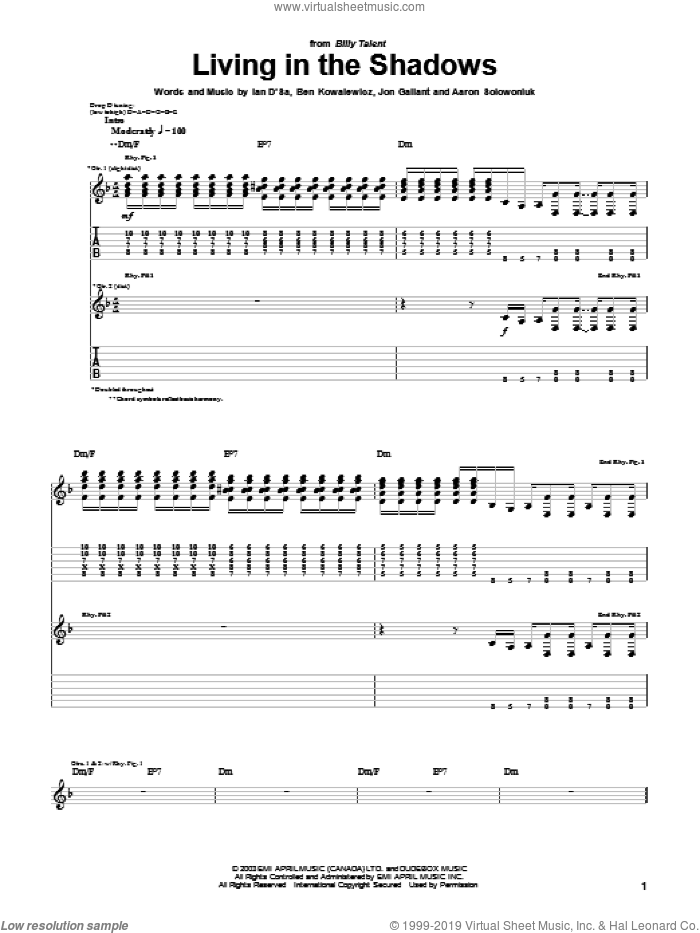 Living In The Shadows sheet music for guitar (tablature) by Billy Talent. Score Image Preview.