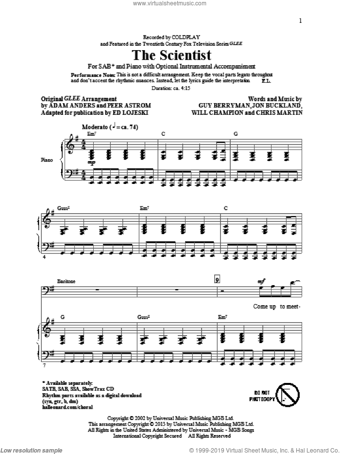 The Scientist sheet music for choir (SAB) by Ed Lojeski and Coldplay. Score Image Preview.