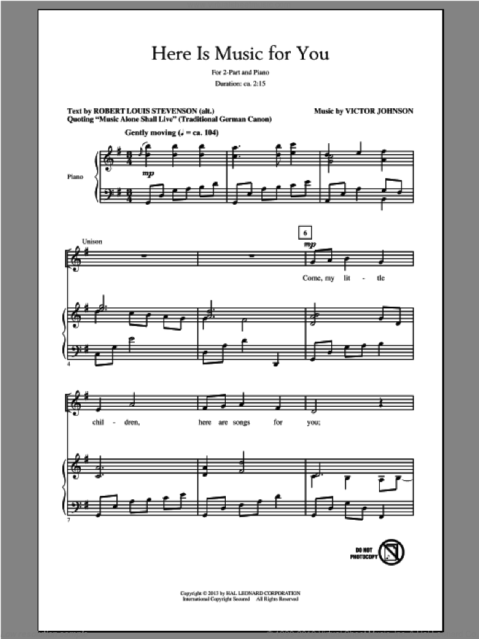 Here Is Music For You sheet music for choir and piano (duets) by Victor Johnson