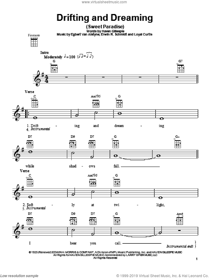 Drifting And Dreaming (Sweet Paradise) sheet music for ukulele by Erwin R. Schmidt, Egbert Van Alstyne and Haven Gillespie, intermediate skill level