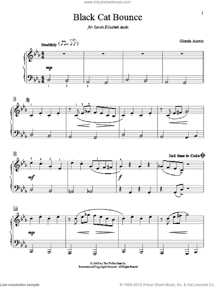 Black Cat Bounce sheet music for piano solo (elementary) by Glenda Austin. Score Image Preview.