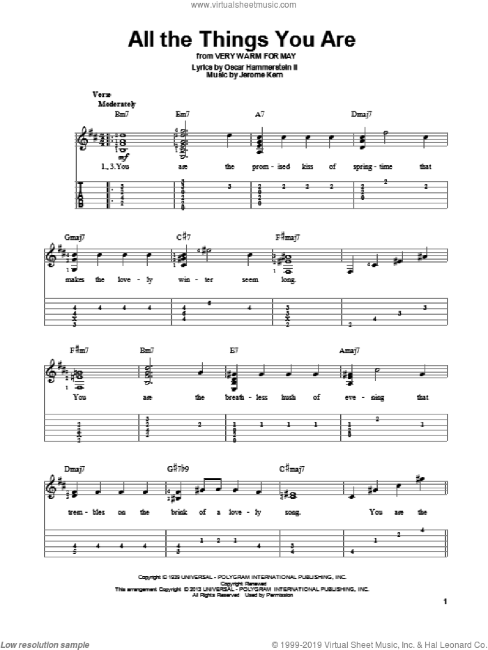 All The Things You Are sheet music for guitar solo by Jerome Kern and Oscar II Hammerstein. Score Image Preview.