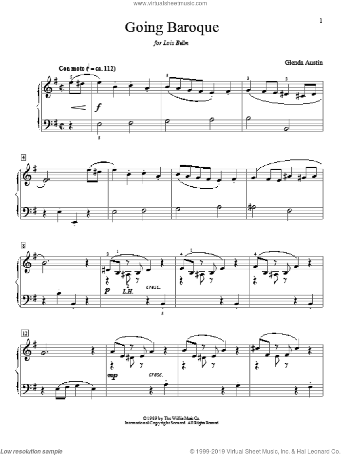 Going Baroque sheet music for piano solo (elementary) by Glenda Austin. Score Image Preview.