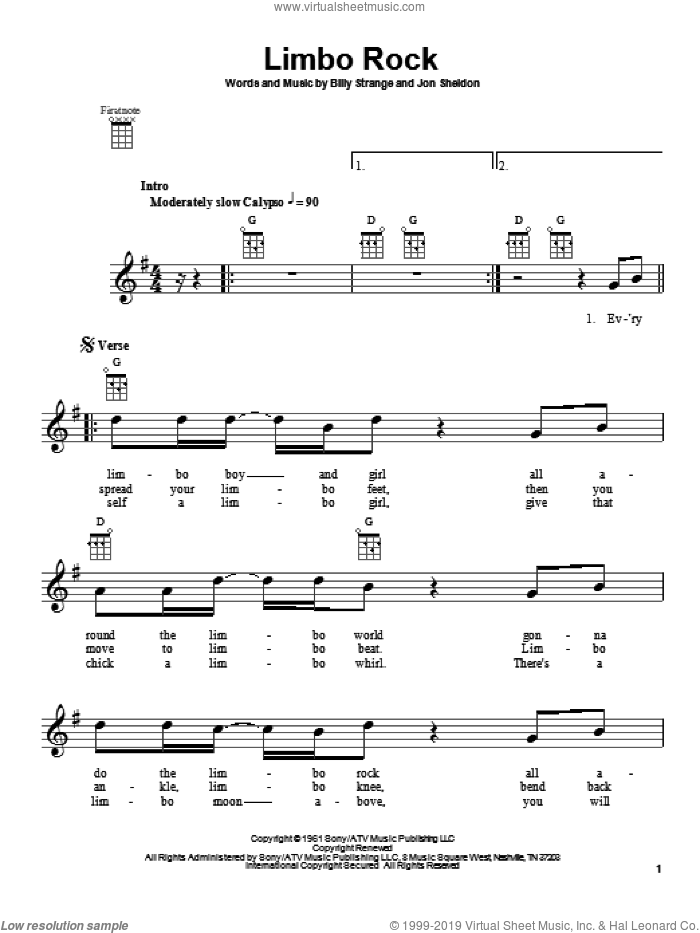 Limbo Rock sheet music for ukulele by Chubby Checker, Billy Strange and Jon Sheldon, intermediate skill level