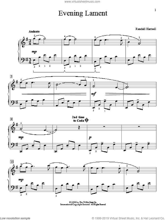 Evening Lament sheet music for piano solo (elementary) by Randall Hartsell, beginner piano (elementary). Score Image Preview.