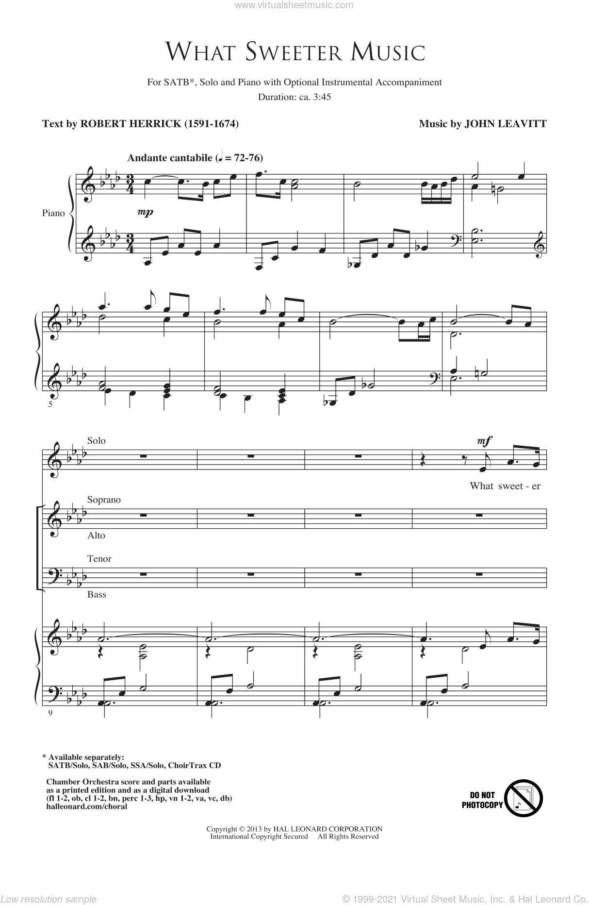What Sweeter Music sheet music for choir by John Leavitt and Robert Herrick. Score Image Preview.