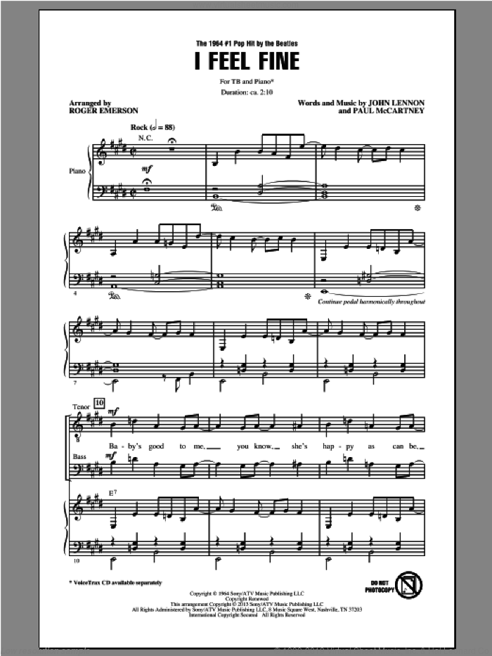 I Feel Fine sheet music for choir (TB: tenor, bass) by The Beatles and Roger Emerson, intermediate skill level