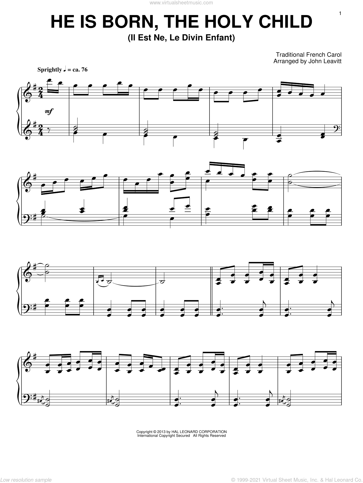 Christmas Tidings sheet music for piano solo by John Leavitt and Miscellaneous, intermediate skill level