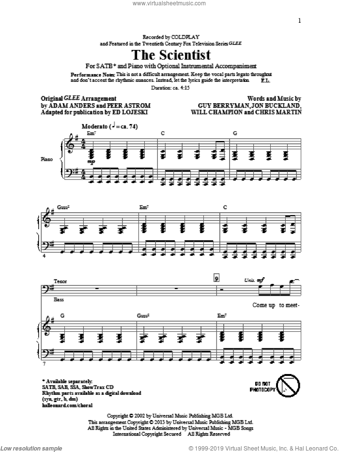 The Scientist sheet music for choir (SATB) by Ed Lojeski and Coldplay. Score Image Preview.