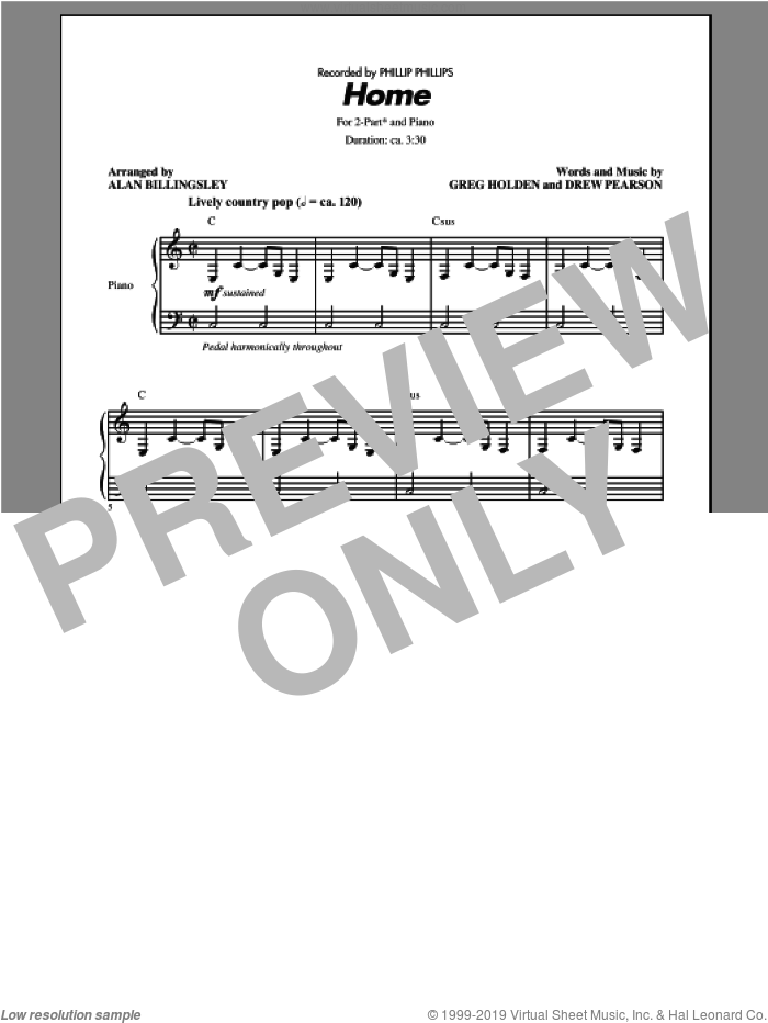 Home sheet music for choir and piano (duets) by Alan Billingsley and Phillip Phillips. Score Image Preview.