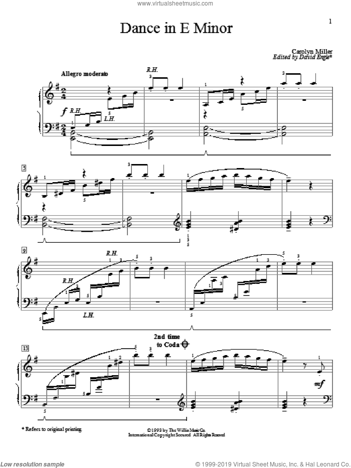 Dance In E Minor sheet music for piano solo (elementary) by Carolyn Miller. Score Image Preview.