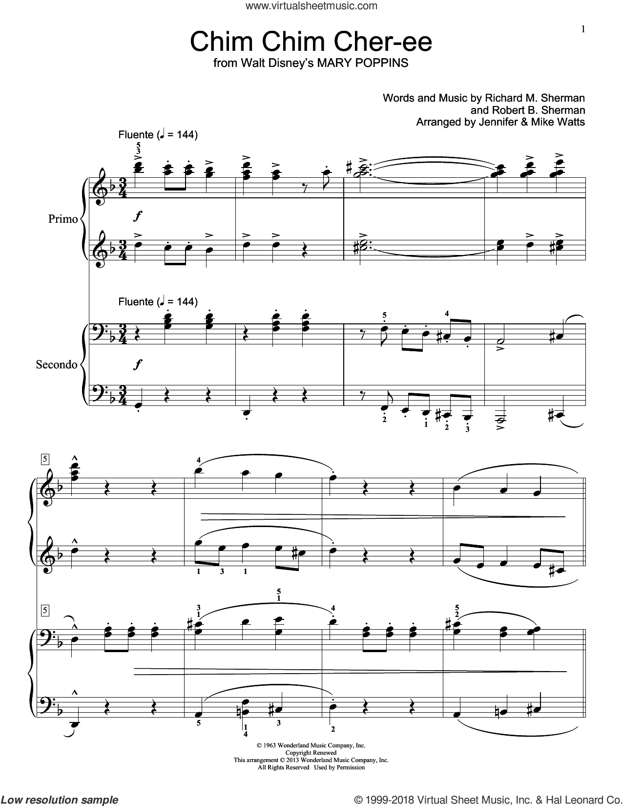 Chim Chim Cher-ee sheet music for piano four hands by Robert B. Sherman and Richard M. Sherman, intermediate. Score Image Preview.