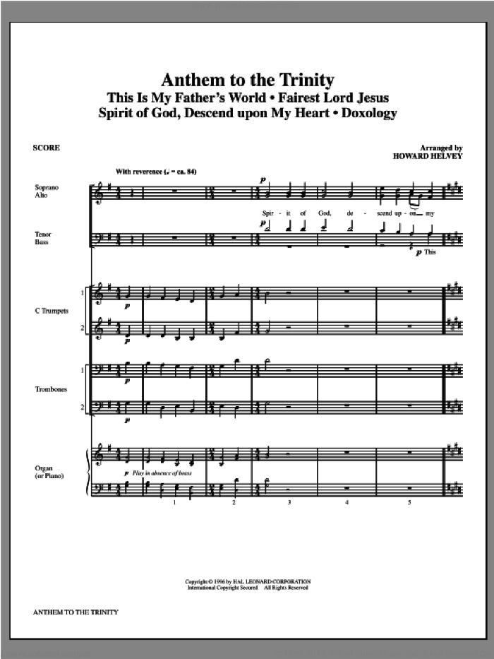 Anthem to the Trinity (COMPLETE) sheet music for orchestra/band (Brass) by Howard Helvey, intermediate orchestra/band (Brass). Score Image Preview.