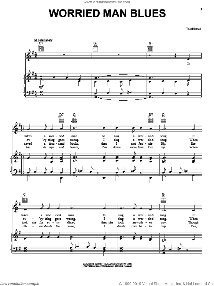 Worried Man Blues sheet music for voice, piano or guitar, intermediate voice, piano or guitar. Score Image Preview.