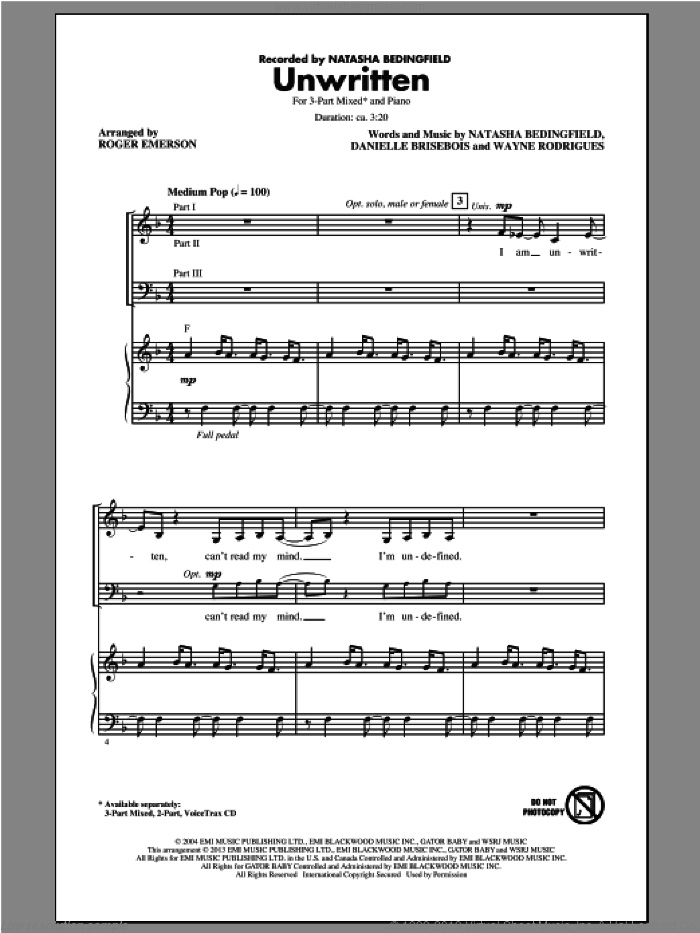 Unwritten sheet music for choir and piano (chamber ensemble) by Roger Emerson. Score Image Preview.