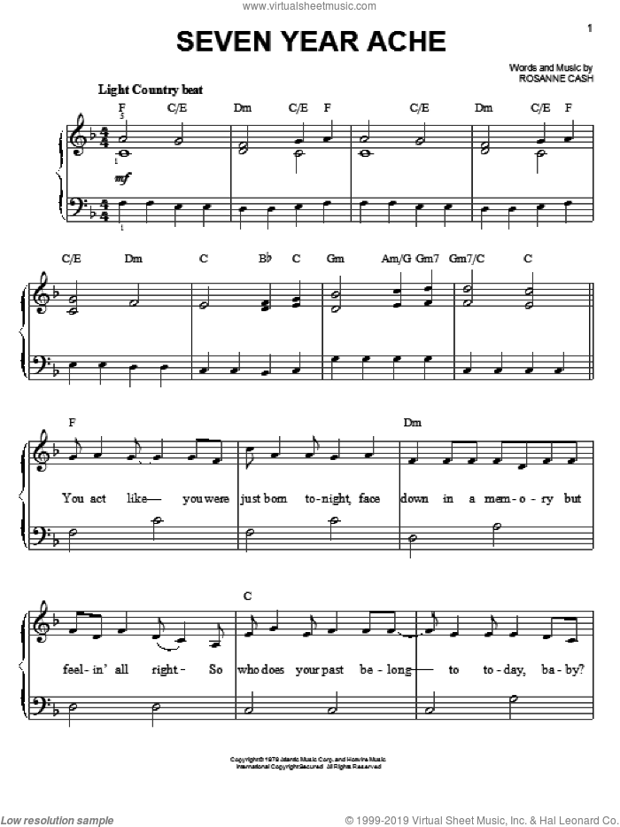 Seven Year Ache sheet music for piano solo by Rosanne Cash, easy skill level