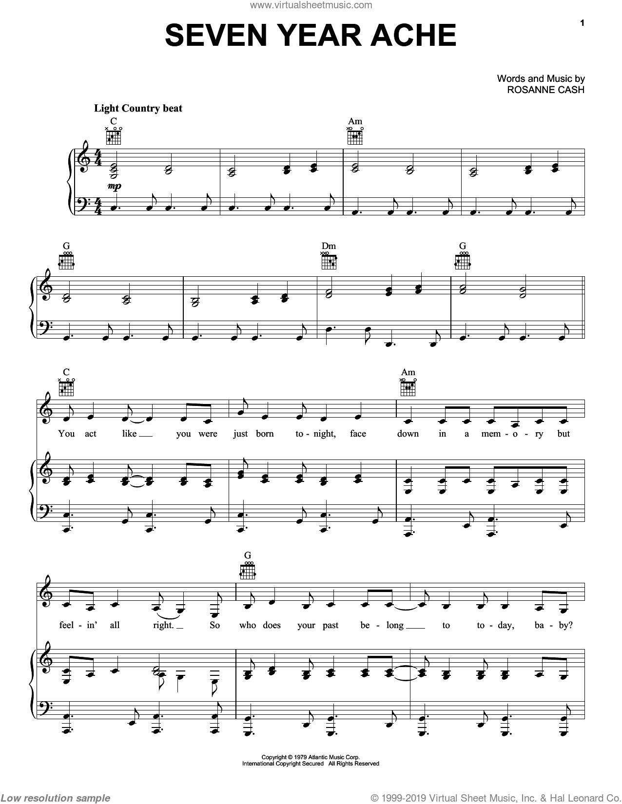 Seven Year Ache sheet music for voice, piano or guitar by Rosanne Cash, intermediate skill level