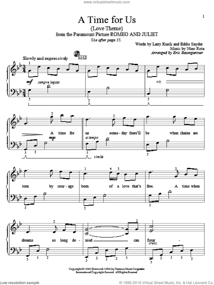 A Time For Us (Love Theme) sheet music for piano solo (elementary) by Nino Rota, Eric Baumgartner, Eddie Snyder and Larry Kusik, wedding score, beginner piano (elementary). Score Image Preview.