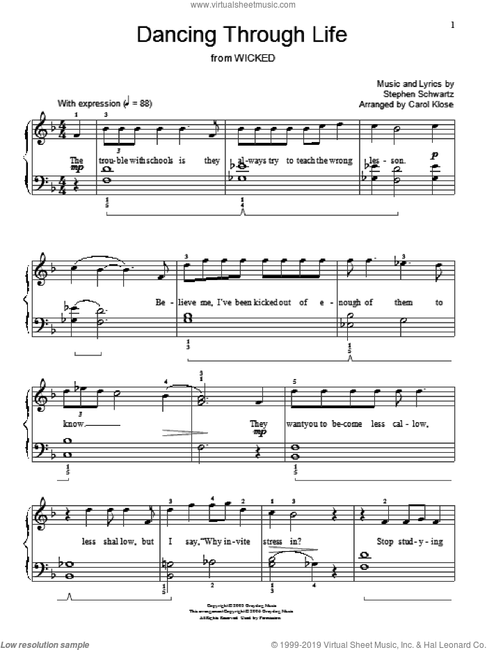 Dancing Through Life sheet music for piano solo (elementary) by Stephen Schwartz, Carol Klose, Miscellaneous and Wicked (Musical), beginner piano (elementary)