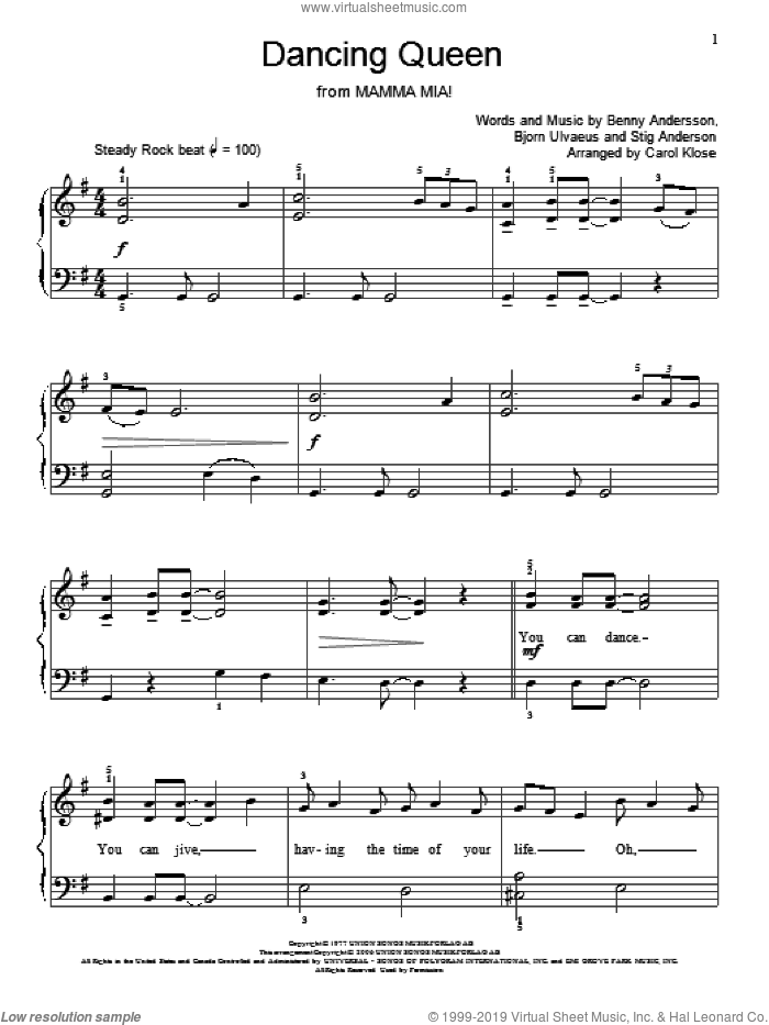 Dancing Queen sheet music for piano solo (elementary) by ABBA, Miscellaneous, Benny Andersson, Bjorn Ulvaeus and Stig Anderson. Score Image Preview.