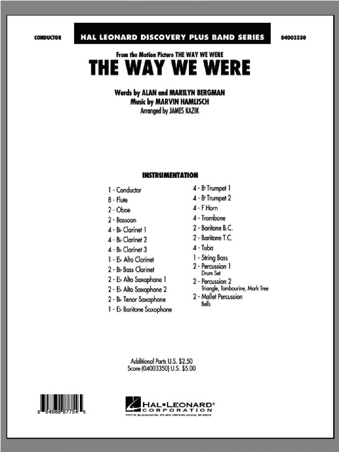 The Way We Were (COMPLETE) sheet music for concert band by James Kazik, intermediate skill level
