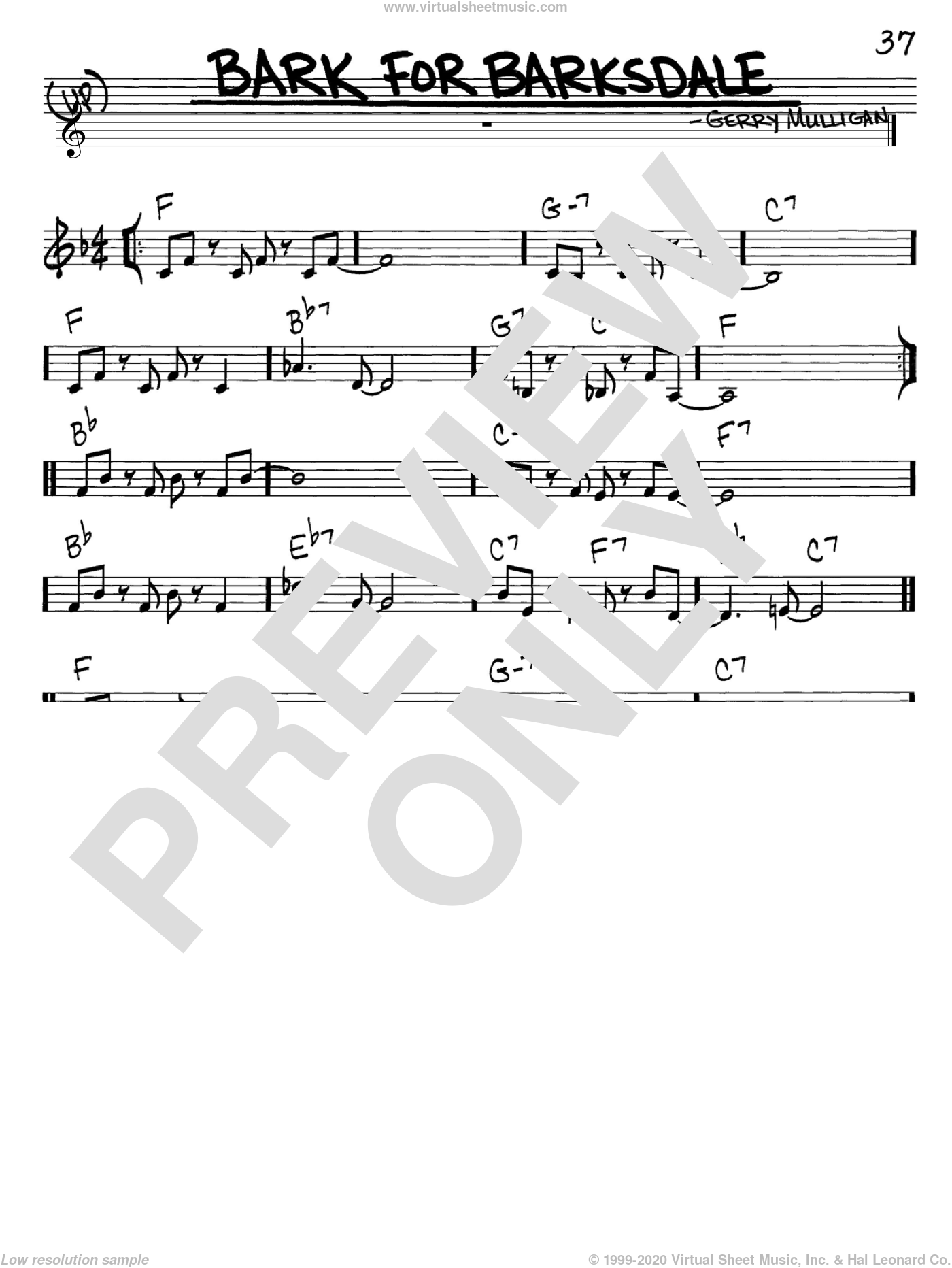 Bark For Barksdale sheet music for voice and other instruments (C) by Gerry Mulligan