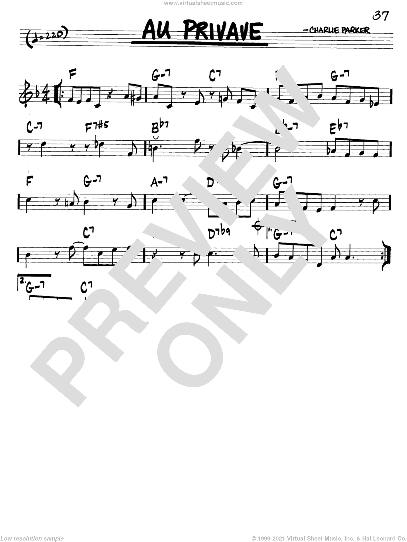 Au Privave sheet music for voice and other instruments (in C) by Charlie Parker, intermediate. Score Image Preview.