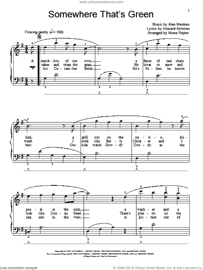 Somewhere That's Green sheet music for piano solo (elementary) by Howard Ashman, Mona Rejino, Miscellaneous and Alan Menken, beginner piano (elementary)