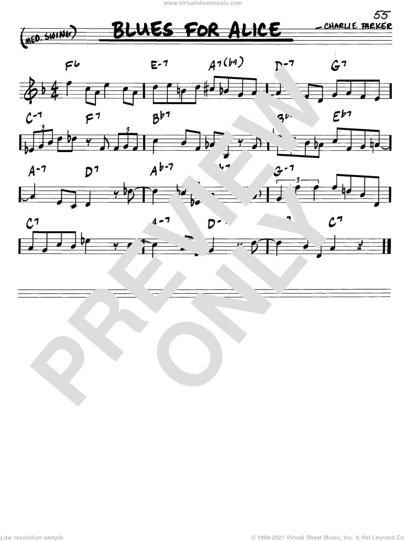 Blues For Alice sheet music for voice and other instruments (C) by John Coltrane and Charlie Parker, intermediate voice. Score Image Preview.