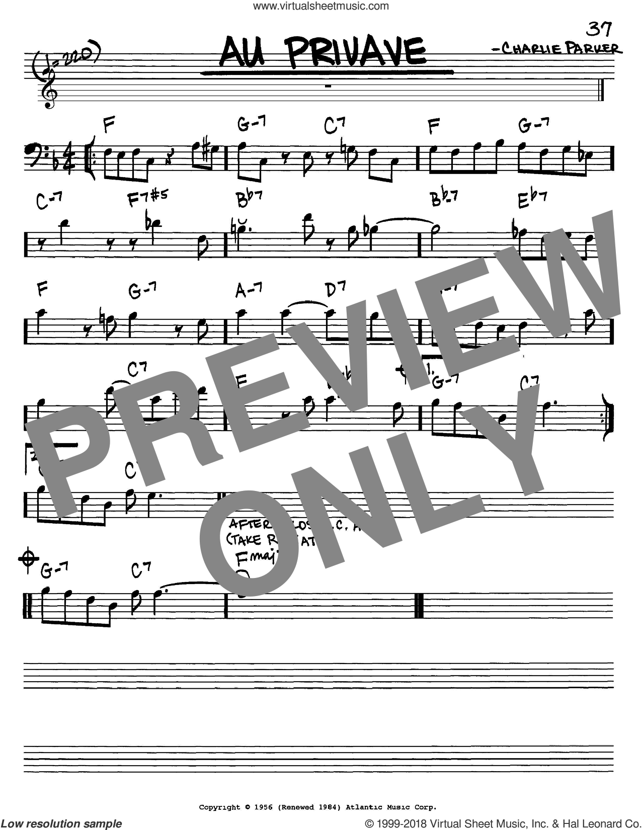 Au Privave sheet music for voice and other instruments (Bass Clef ) by Charlie Parker. Score Image Preview.