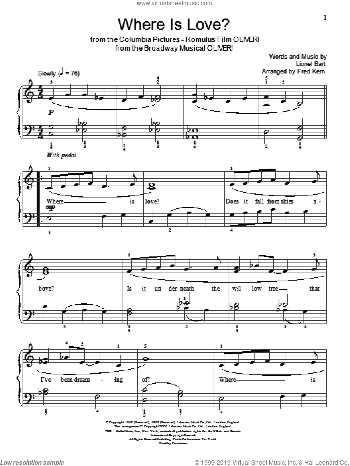 Where Is Love? sheet music for piano solo (elementary) by Lionel Bart, Miscellaneous and Oliver! (Musical), beginner piano (elementary)