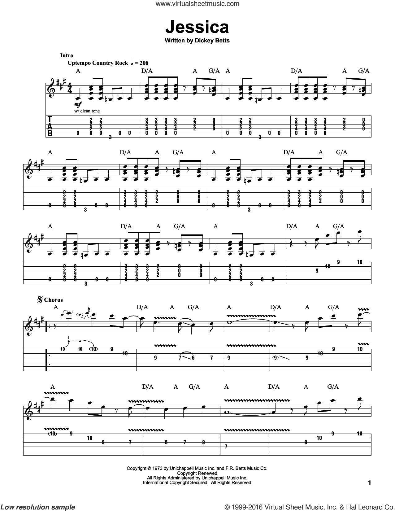 Jessica sheet music for guitar (tablature, play-along) by Allman Brothers Band and Dickey Betts. Score Image Preview.