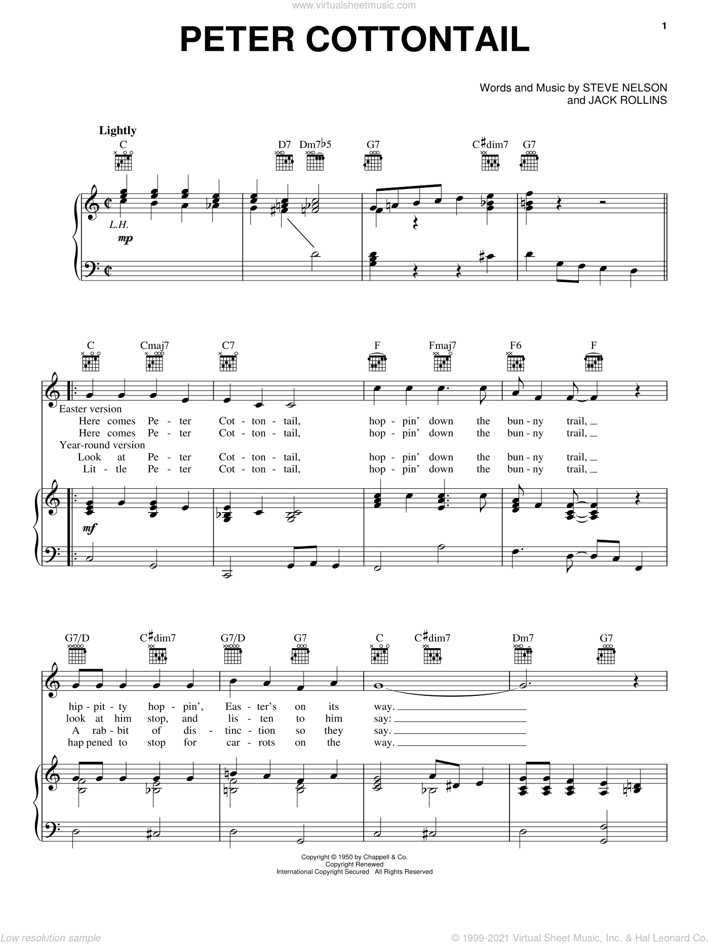 Peter Cottontail sheet music for voice, piano or guitar by Steve Nelson and Jack Rollins. Score Image Preview.