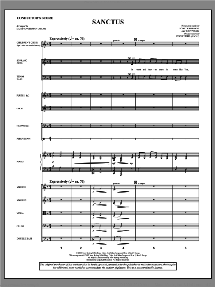 Sanctus sheet music for orchestra/band (score) by David Angerman and Tony Wood. Score Image Preview.