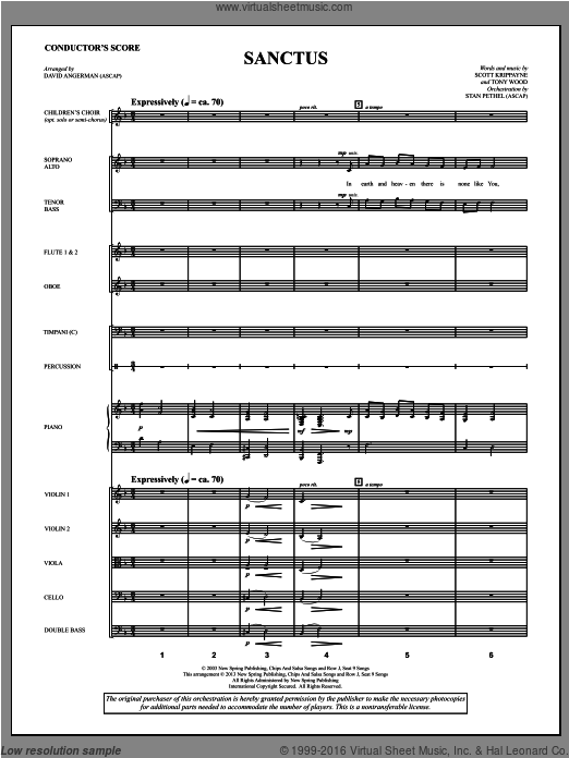 Sanctus (COMPLETE) sheet music for orchestra by David Angerman and Tony Wood. Score Image Preview.
