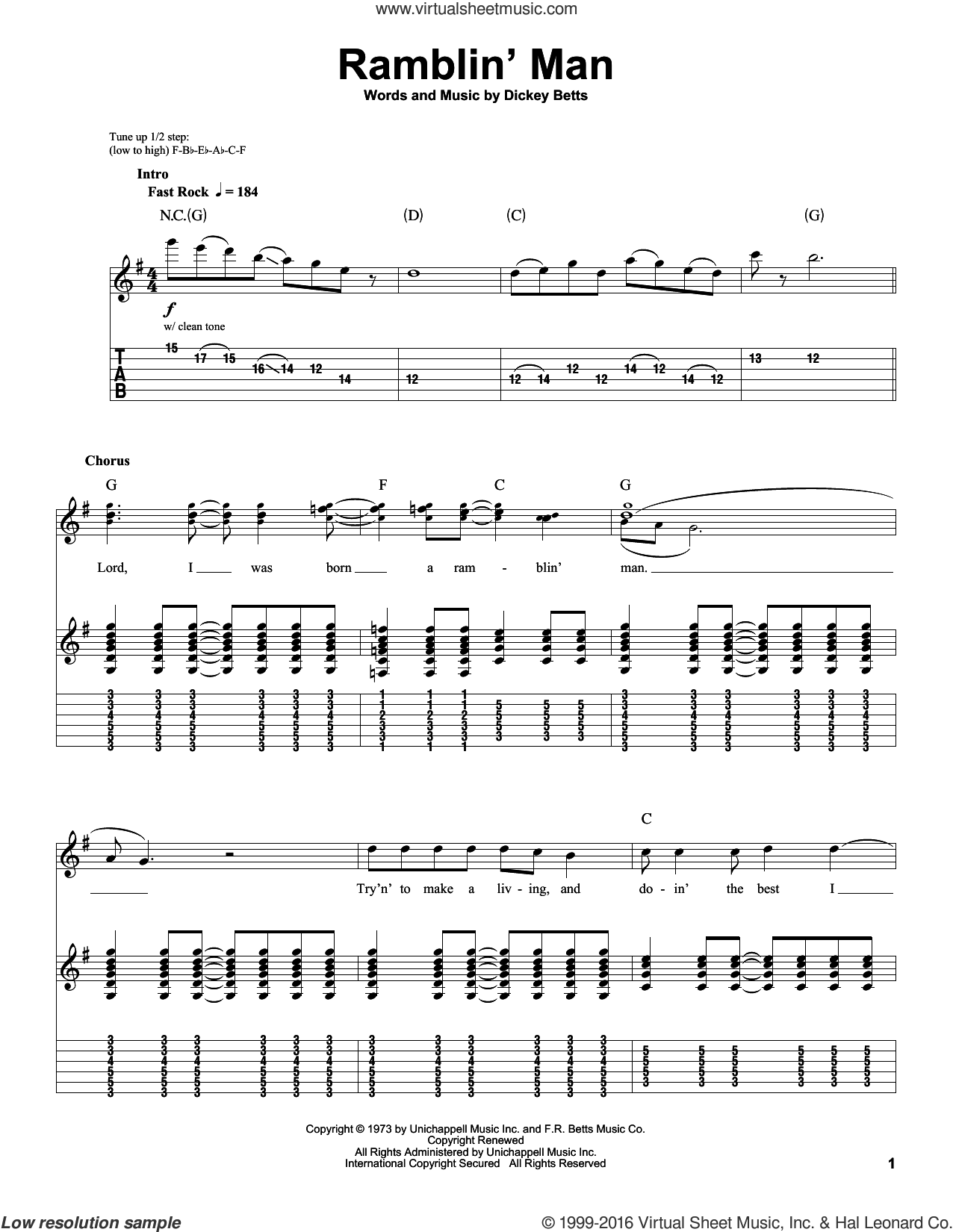 Ramblin' Man sheet music for guitar (tablature, play-along) by Allman Brothers Band, The Allman Brothers Band and Dickey Betts, intermediate. Score Image Preview.