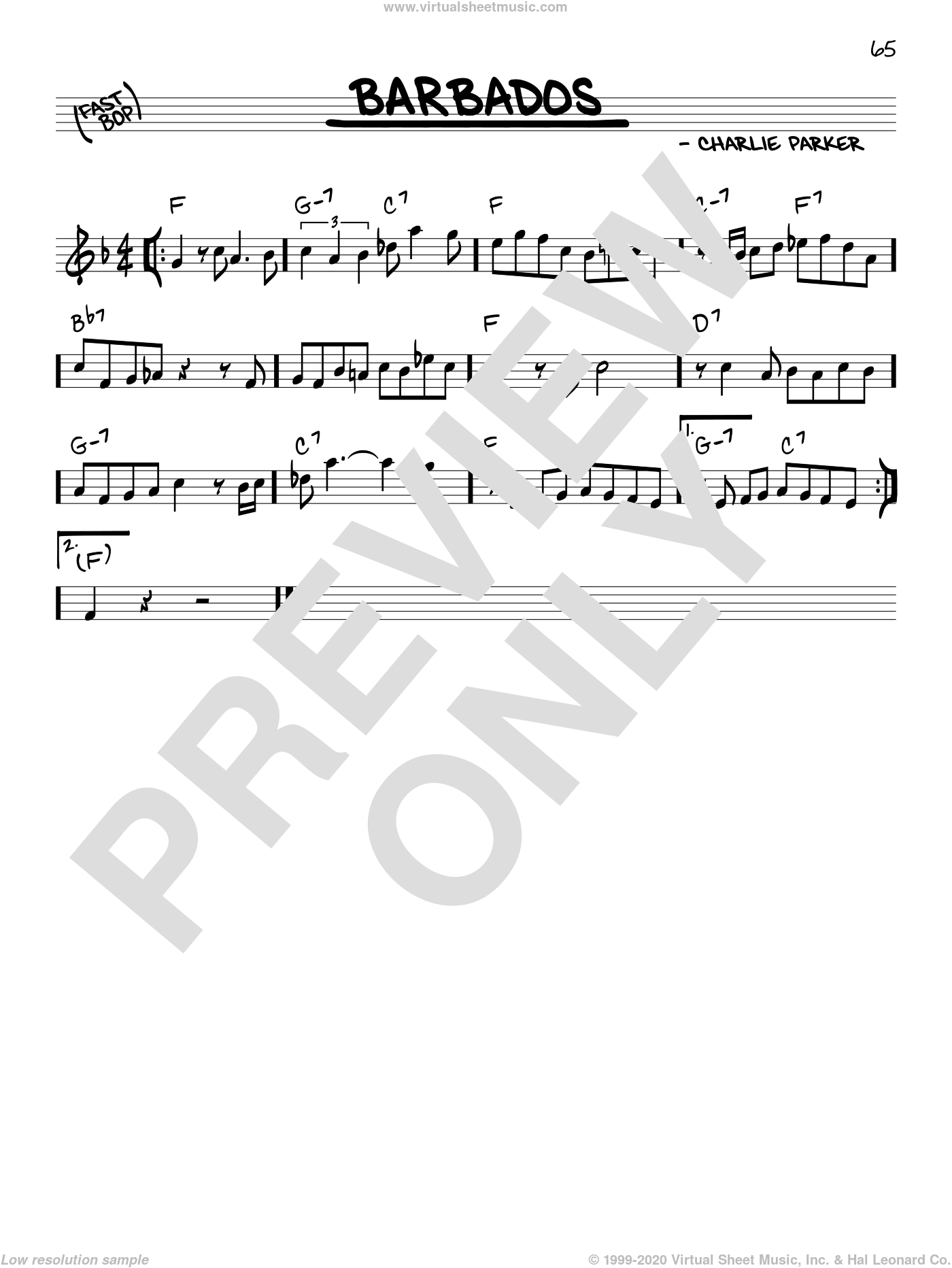 Barbados sheet music for voice and other instruments (in C) by Charlie Parker, intermediate skill level