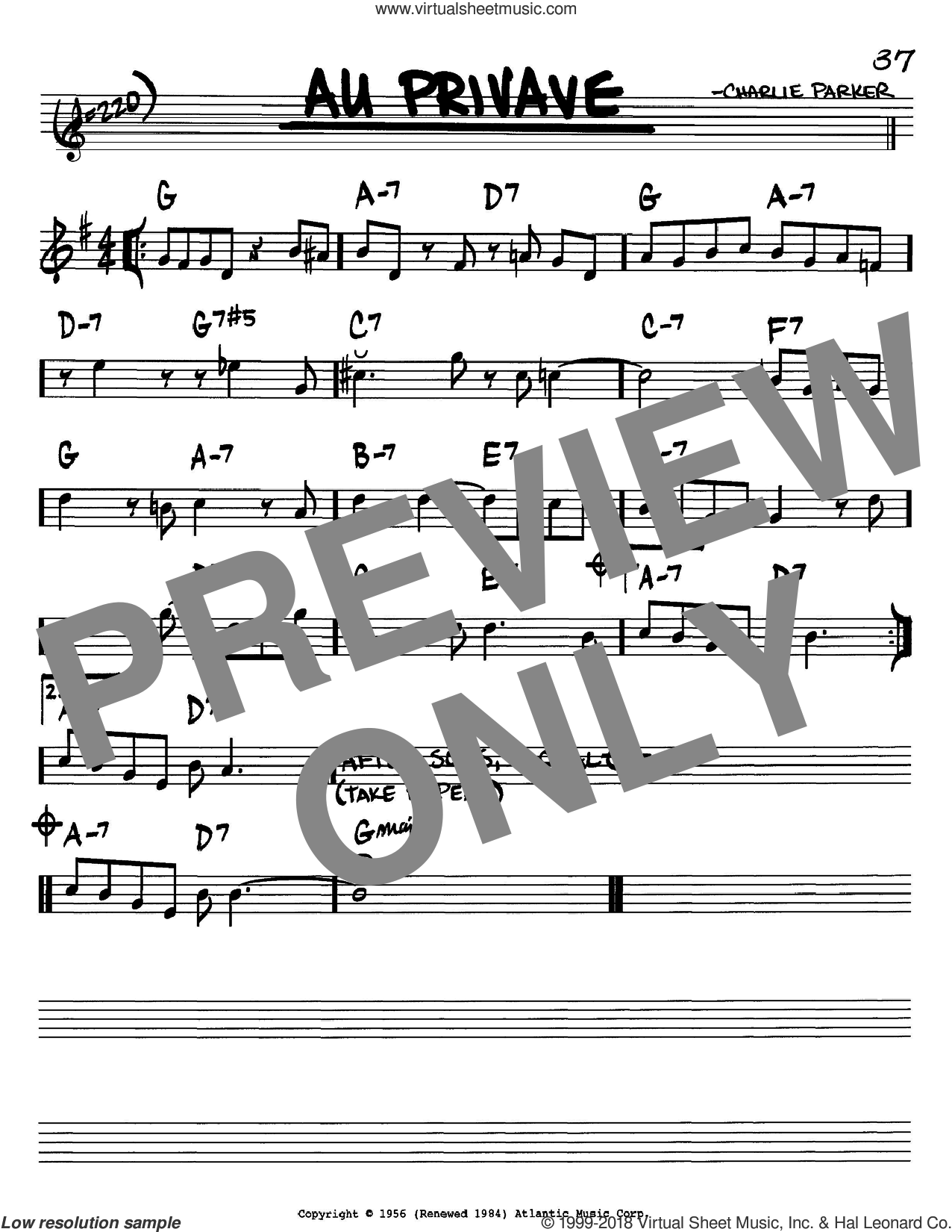 Au Privave sheet music for voice and other instruments (Bb) by Charlie Parker. Score Image Preview.
