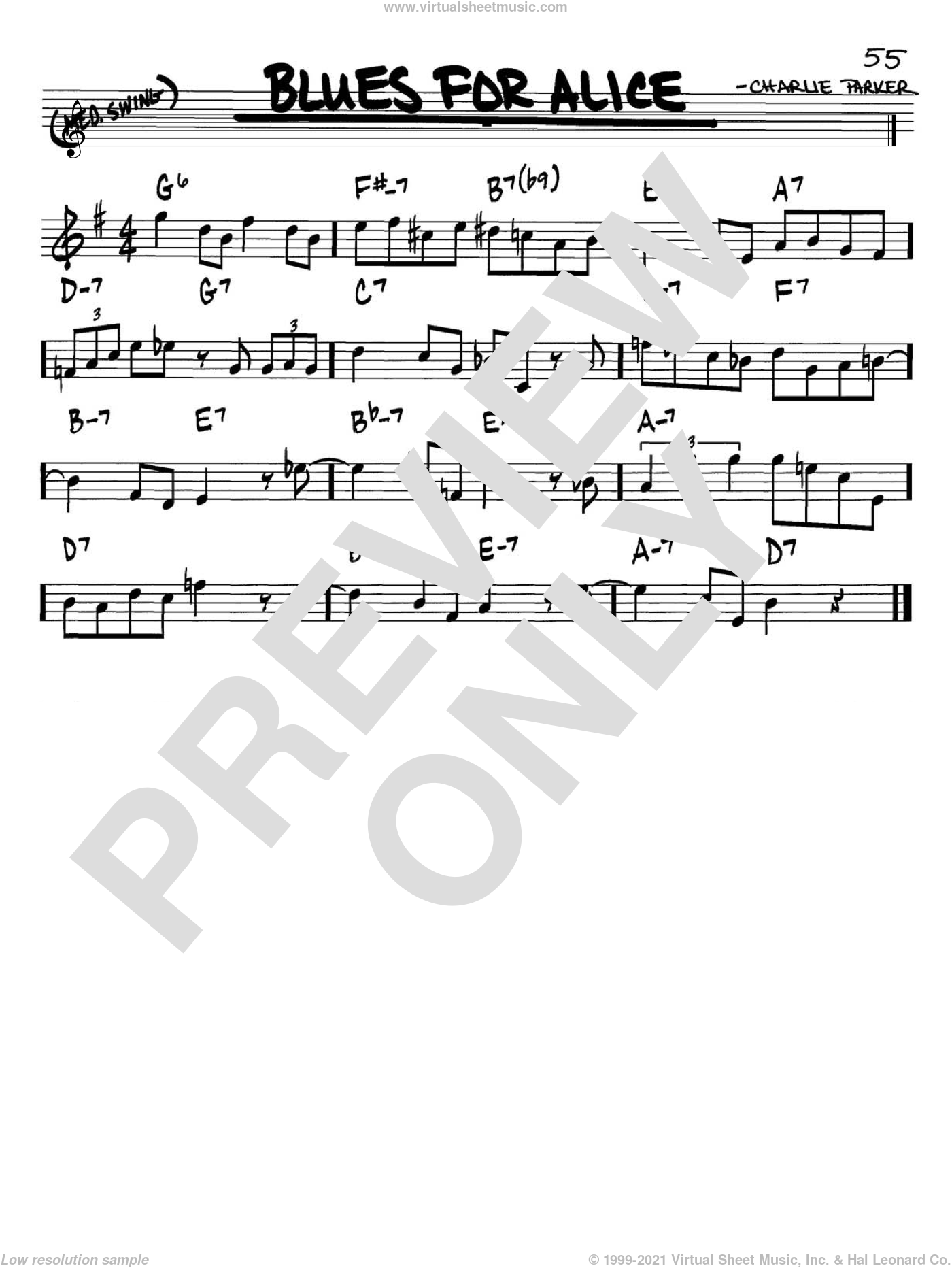Blues For Alice sheet music for voice and other instruments (Bb) by John Coltrane and Charlie Parker. Score Image Preview.