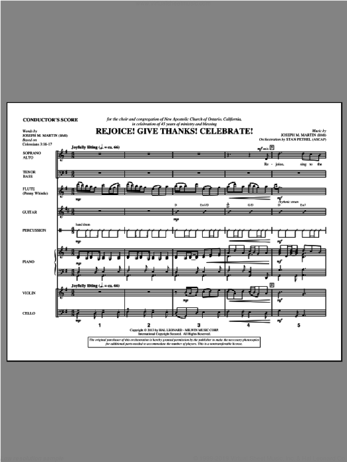 Rejoice! Give Thanks! Celebrate! (COMPLETE) sheet music for orchestra/band by Joseph Martin and Joseph M. Martin, intermediate. Score Image Preview.