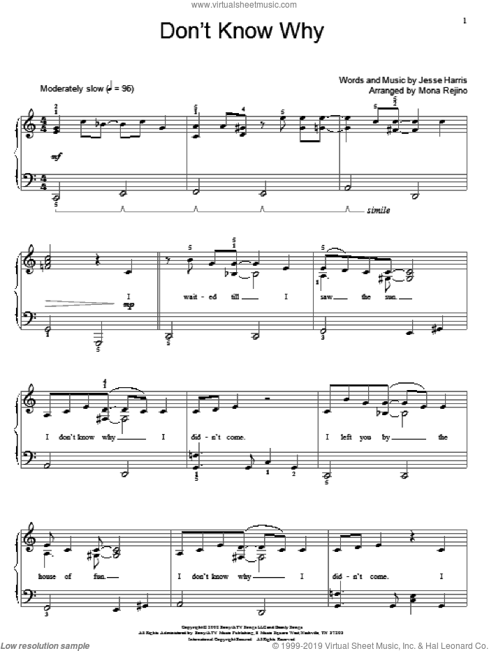 Don't Know Why sheet music for piano solo (elementary) by Norah Jones, Miscellaneous and Jesse Harris, beginner piano (elementary)