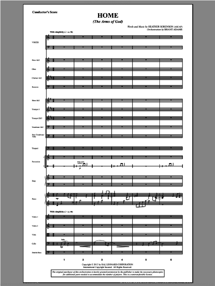 Home (The Arms of God) (COMPLETE) sheet music for orchestra/band by Heather Sorenson, intermediate orchestra/band. Score Image Preview.